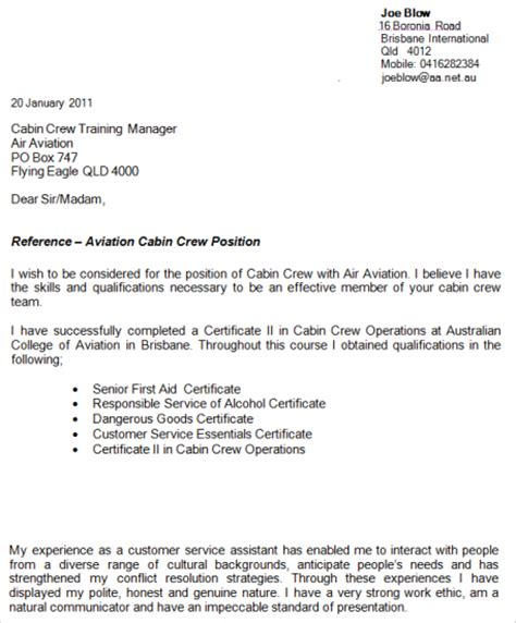 Write A Winning Air Hostess Cover Letter Example For